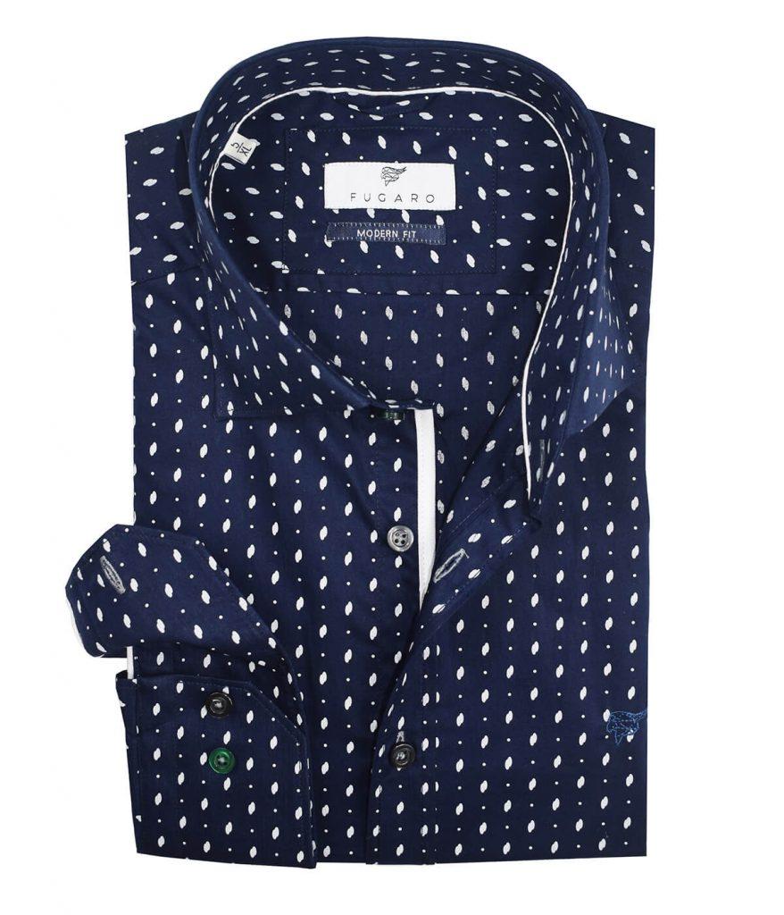 Dots printed navy shirt