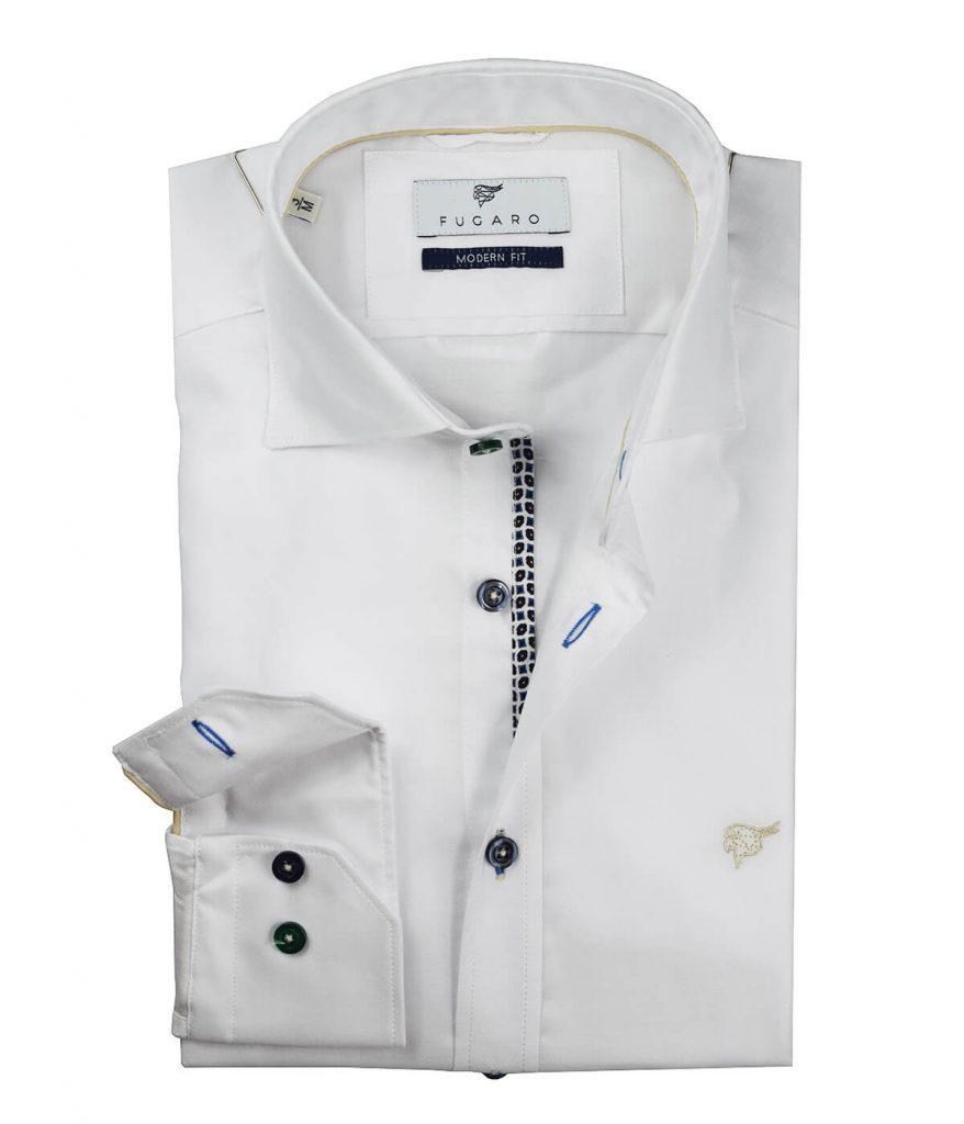 White shirt geometric detail