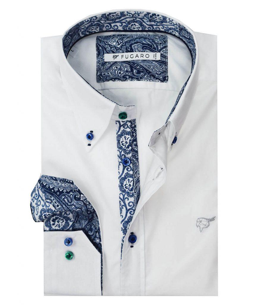 White poplin shirt paisley contrast