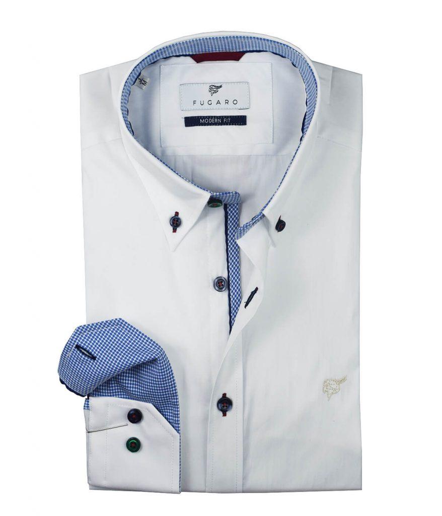 White shirt printed contrast
