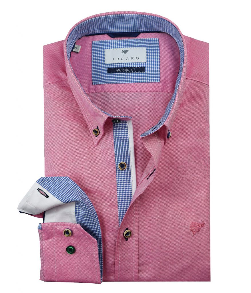 Pink shirt blue contrast