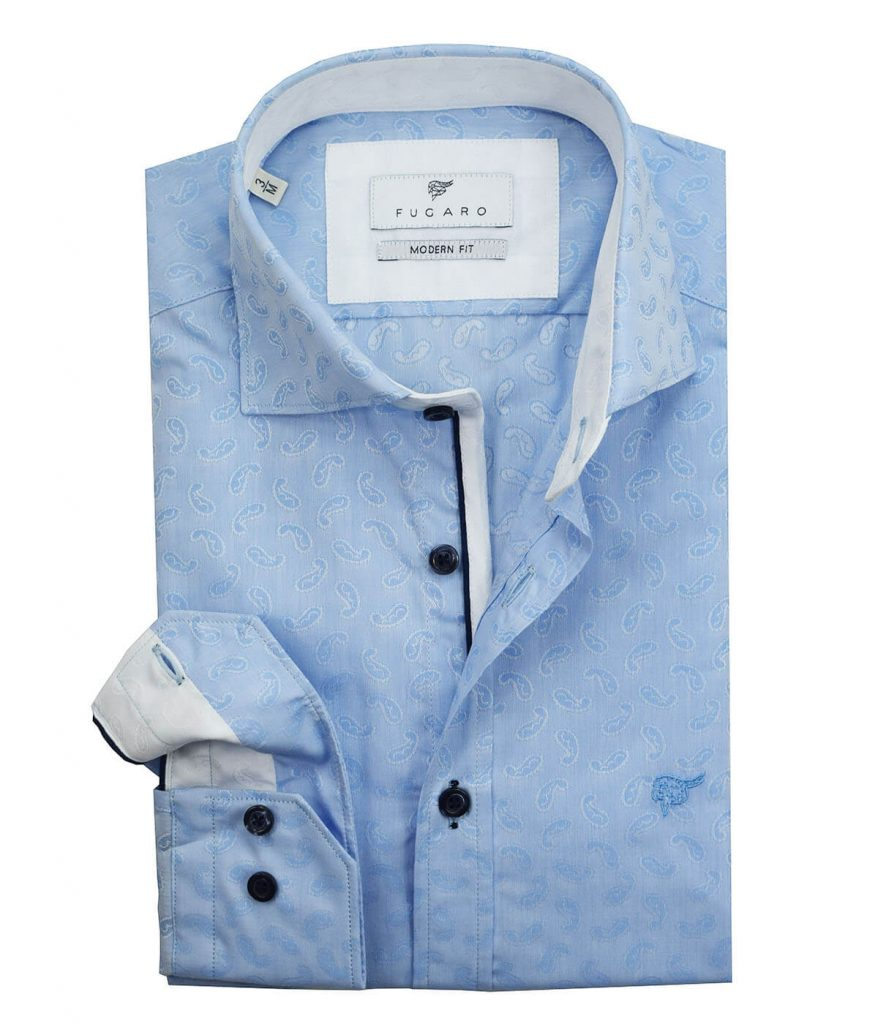 Blue jacquard paisley shirt