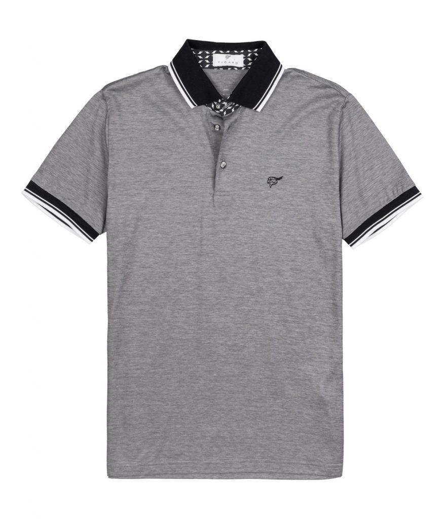 Grey mercerized cotton polo