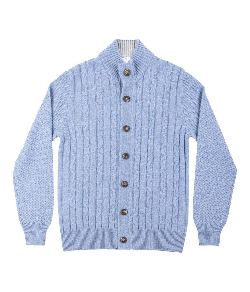 Blue cable-knit cashmere cardigan