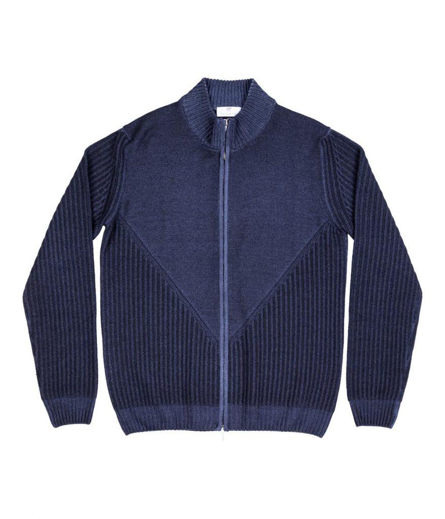 Zip-up merino wool navy cardigan