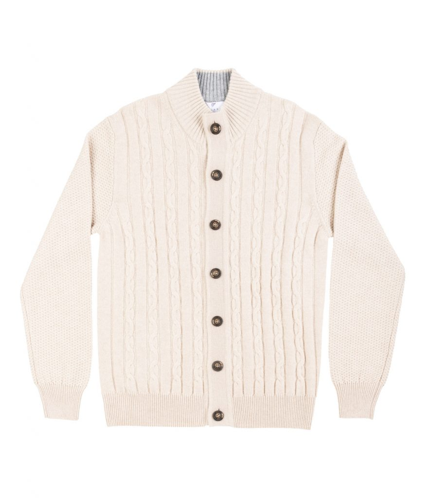 Beige cable-knit cashmere cardigan