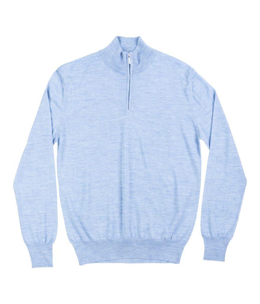Sky-blue Tasmanian wool half-zip sweater