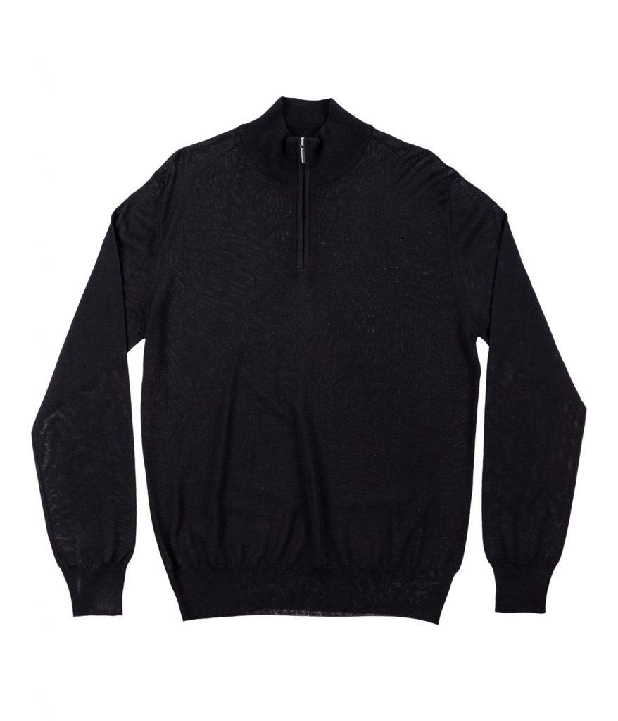 Black Tasmanian wool half-zip sweater